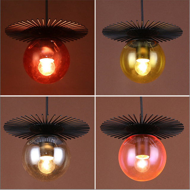 American Vintage Multi Color Creative Chandelier Glass Bar Table Lamp Billiards Hall Coffee Light