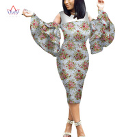Customized African Print Clothing Ruffle Sleeve Midi Dress for Summer Women Sweet Dress Plus Size 6XL BRW WY2056