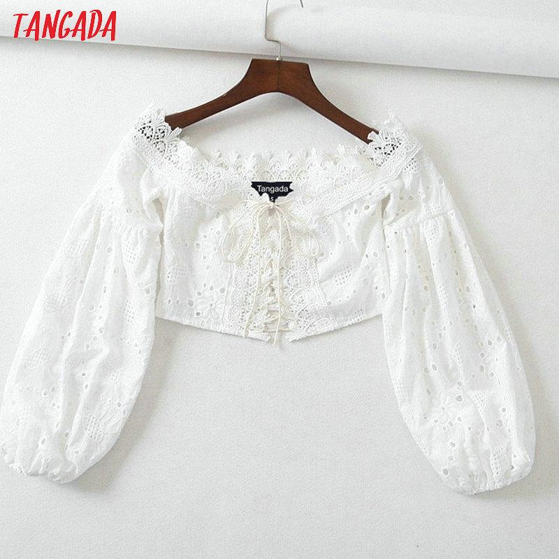 f132ed7e508ec3 Tangada women white bohemian shirts shoulder off Sexy lantern Sleeve retro  black lace beach crop blouse summer brand blusas 2B08-in Blouses & Shirts  from ...