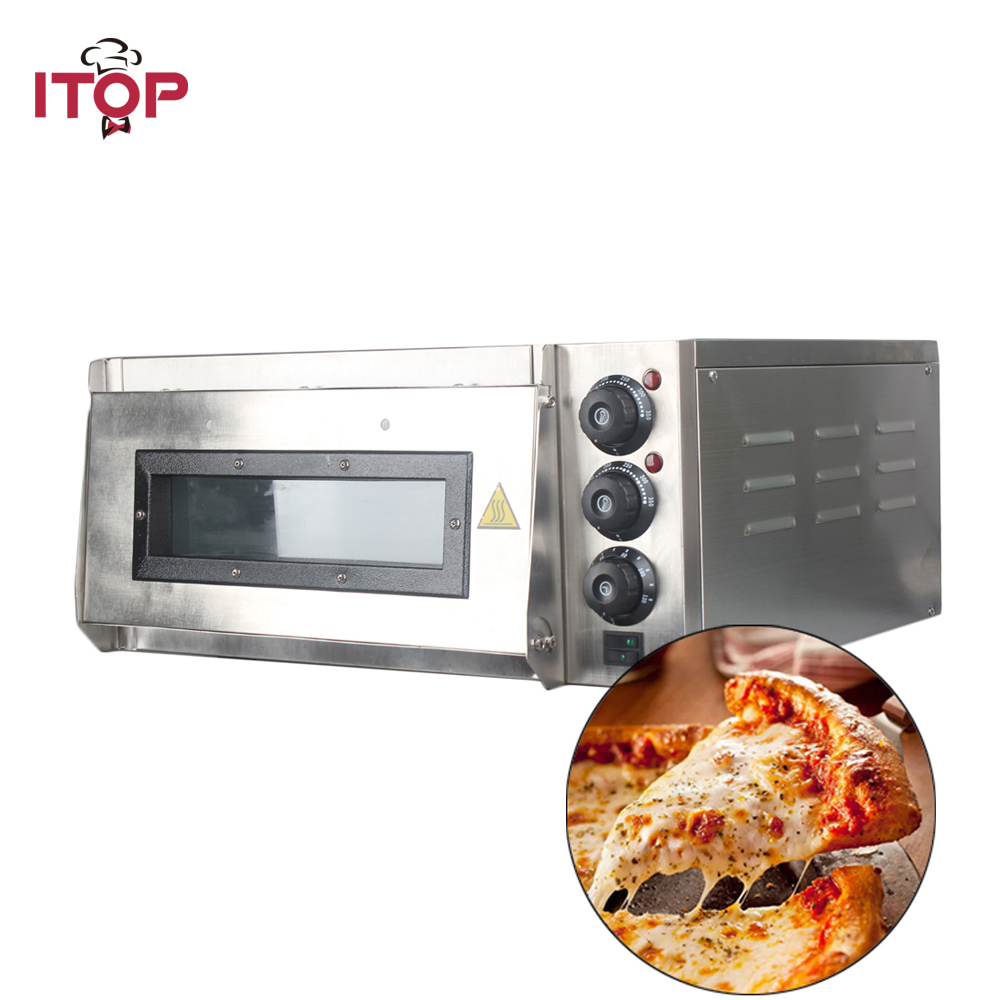 ITOP 4pcs Pizza Oven 2KW Commercial Electric Pizza Oven Single Layer Professional Baking Oven Cake/Bread/Pizza With Timer 3000w stainless steel commercial electric pizza oven with timer 2 layer making bread pizza cake baking oven