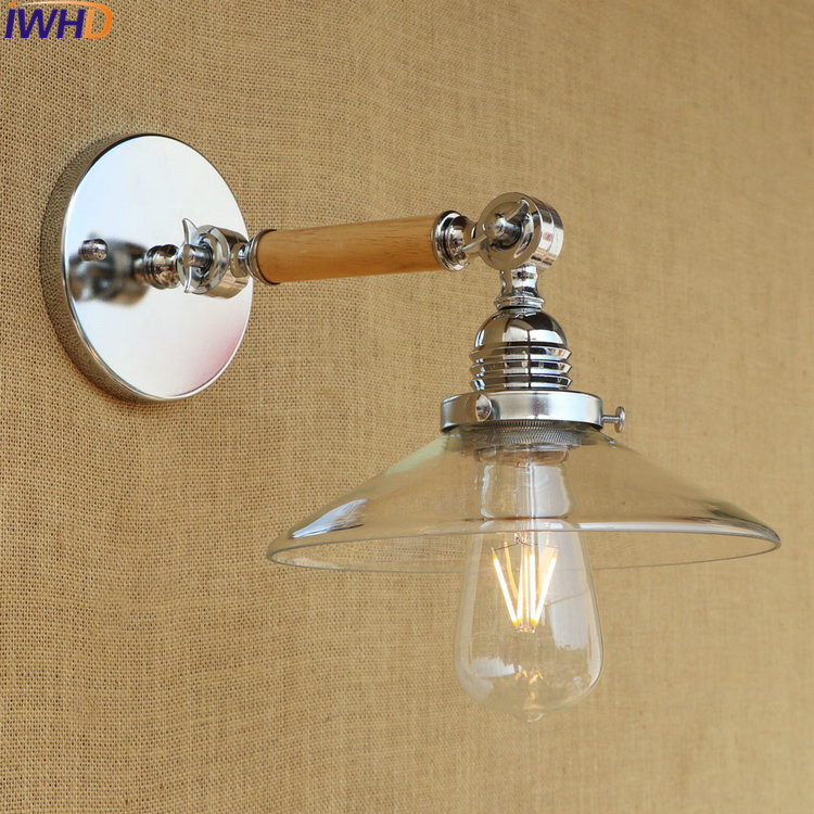 IWHD Loft Style Vintage Wall Lights For Home Lighting Fixtures Glass Waood Wandlamp Retro Arm Sconce Luminaire Lampara De Pared iwhd antique eidson led wall light fixtures wandlamp swing long arm wall lights vintage industrial wall sconce lampara pared