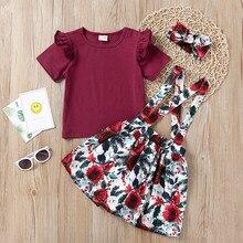 ea731a7e087d02 Kinder Baby Mädchen Langarm Top Plissee T-shirt Auszusetzen Bermuda Floral  Rock Stirnband Outfits Baby