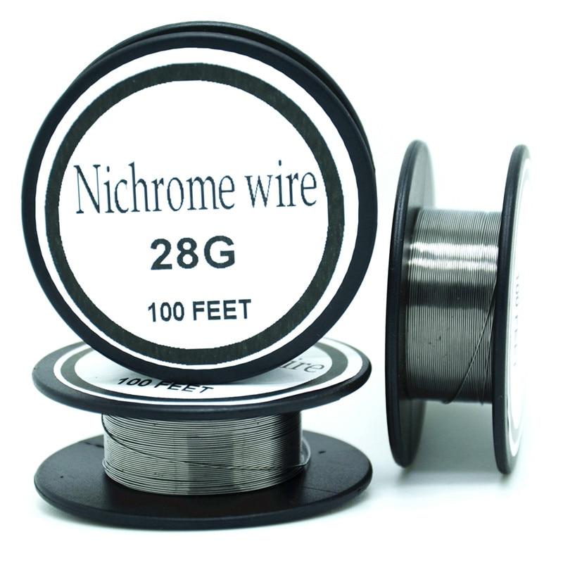 Nichelcromo filo 28 Gauge 100 FT 0.3 millimetri Cantal Resistore di Resistenza AWG FAI DA TE atomizzatore coreNichelcromo filo 28 Gauge 100 FT 0.3 millimetri Cantal Resistore di Resistenza AWG FAI DA TE atomizzatore core