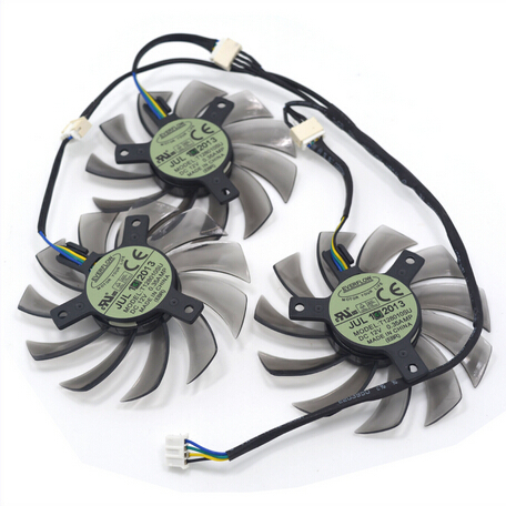 3Pcs/lot T128010SU 4Pin 0.35A Graphics Card Fan Cooler for Gigabte GeForce GTX770 760 680 as Replacement 2pcs lot pld08010s12hh 75mm dc 12v 0 35a 4pin dual cooler fan as replacement for msi twin frozr iii graphics video card