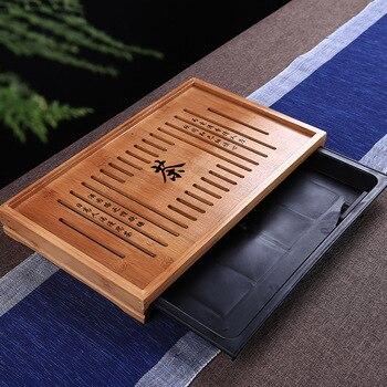 42.5*26.5*5cm Tea tray drawer-type drainage water storage dual-use Kung Fu tea with bamboo tea tray