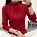 Mujeres de moda 2017 primavera suéteres de cuello alto básico suave casual tejido de punto Jersey de invierno KB924