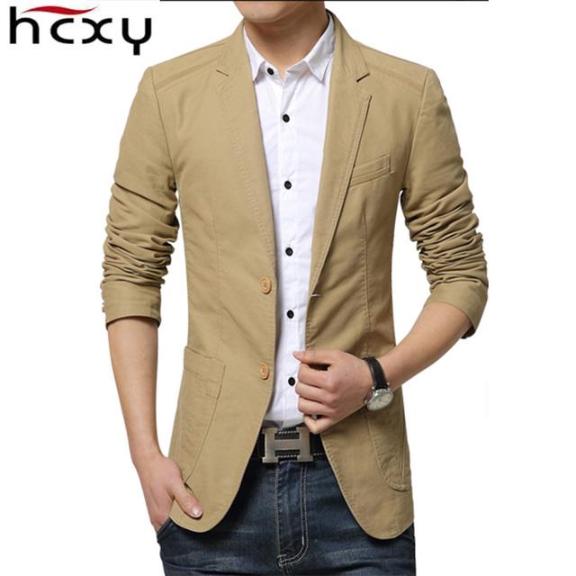 HCXY Nueva Slim Fit chaqueta Informal chaqueta de Los Hombres Chaqueta de Algodón doble Botón de Chaqueta de Traje de Hombre 2016 Otoño Abrigo Masculino Suite abrigos