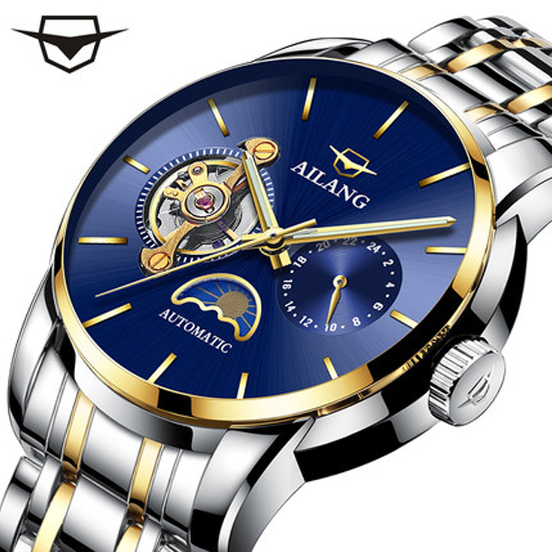 AILANG Top Brand Luxury Men Automatic Mechanical Watches Business Dress Leather Full Steel Waterproof Clock relogio masculino loreo original men mechanical watches men luxury brand full steel waterproof 200m business automatic wristwatches for men a50