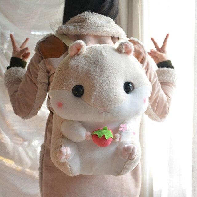 Mignon hamster en peluche sac à dos dessin animé en peluche hamster jouet filles sac décole enfants jouet enfants cadeau