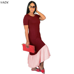 VAZN 2018 New Arrive Famous Brand Women Casual Dress Solid  O-Neck Short Sleeve Loose Maxi Dress Vestido SMR8872 5