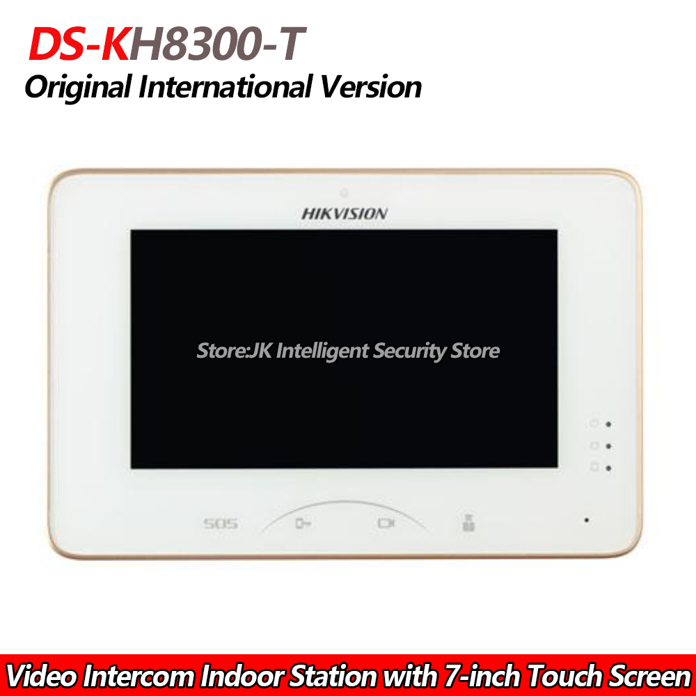 US $188 0 |Hikvision DS KH8300 T Video Intercom Indoor Station with 7 inch  Touch Screen 8 ch alarm input TF Card slot,wired intercom-in Indoor Monitor