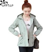 UHYTGF New hooded women spring autumn jacket Casual Loose short windbreaker outerwear zipper Slim Lady wild Plus size jacket 290