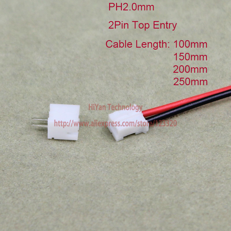 50sets Mini Micro PH2.0 JST 2.0mm Pitch 2Pin  Connector with 1007 26AWG 100mm 150mm 200mm 250mm Electronic Wire Cable Pin header mini micro jst 2 0mm t 1 6 pin connector w wire x 10 sets 6pin 2 0mm