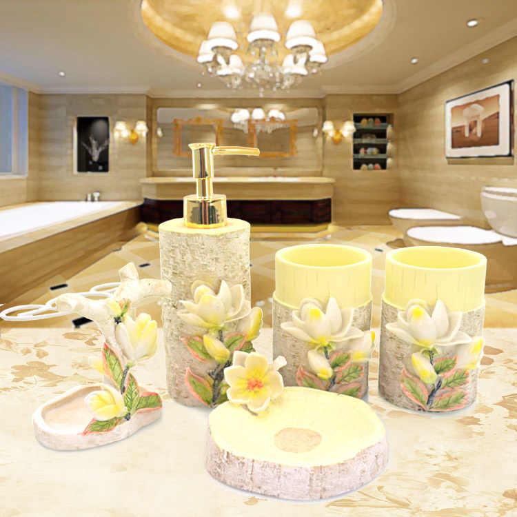 5 sztuk/zestaw szafka łazienkowa w stylu europejskim dostarcza nowe wsi magnolii zestaw do mycia zębów uchwyt kreatywny akcesoria łazienkowe z żywicy zestaw