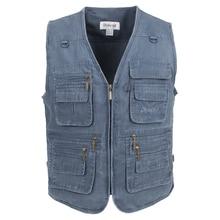 ผ้าฝ้ายเสื้อกั๊ก Plus เสื้อกั๊กตกปลาฤดูร้อนแบบสบายๆชายกลางแจ้งเสื้อกั๊กหลายกระเป๋าปกติ 2