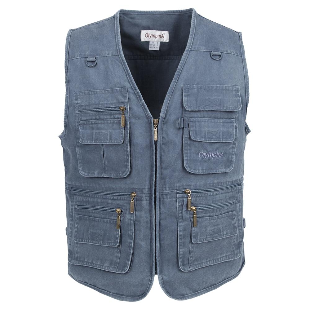 2019 Vest Memancing Summer Kasual Mesh Lelaki Luar Jaket Dengan Multi-Pocketets Biasa Dua Warna Plus Saiz 3XL Kapas Waistcoat