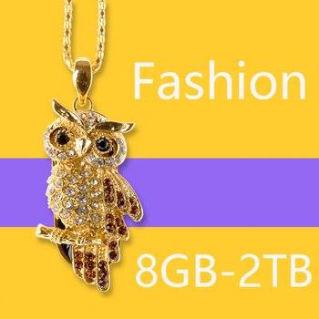 8gb 16gb Owl Crystal Cute Jewelry Usb Flash Drive 32gb 64gb Cute Lovers Gift Pen Drive Pendrive 128gb USB Stick 1TB 2TB 2.0 Key
