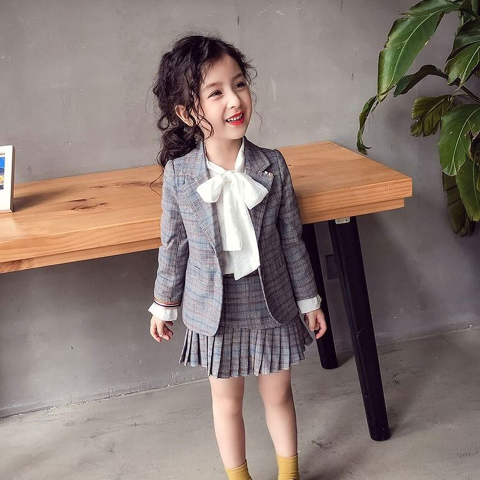 Teenage Girls Clothing Sets Spring Autumn Plaid Kids Tracksuit For Girls Suit School Uniform Girls Clothes Children Clothes 12 Y