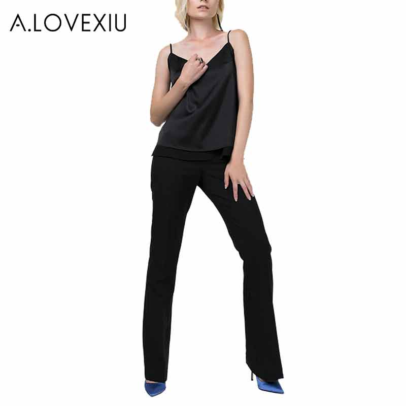 ac05c95a34ad4 A.LOVEXIU cropped silk Tops Sleeveless satin v neck top women tank top -in  Blouses   Shirts from Women s Clothing on Aliexpress.com