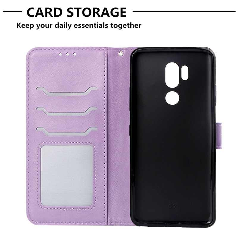 Flip Leather Book Phone Case For LG G7 LGG7 Back Cover Case For LG ThinQ Funda Fireworks Elephant Texture