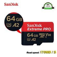 サンディスクエクストリームプロ microSDXC UHS I 64 ギガバイトのメモリカードマイクロ SD カード TF 170 メガバイト/秒 A2 64 ギガバイト Class10 U3 sd アダプタ 100% オリジナル