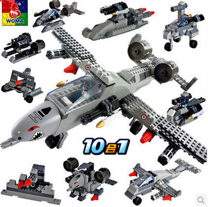 ФОТО WOMA 35426 Supersonic Fighter Helicopter 10 in 1 Model Building Block Sets 323pcs Educational DIY Bricks Toys
