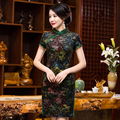 Free Shipping New Sale Qipao Chinese Women's Clothing Cheong-sam Dress Flower Velvet Qipao For Women