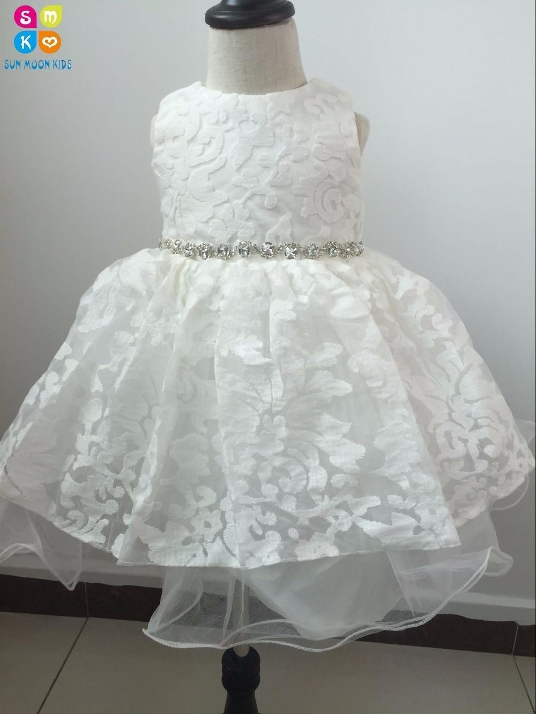 2018 New Diamond Flower Girl Dress White Tutu Party Pageant Dress