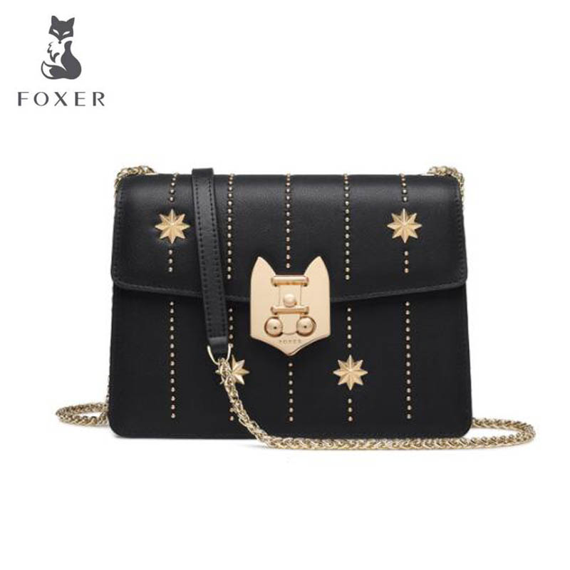 FOXER 2018 New women Leather bag fashion luxury handbags women bags designer Chain rivet women leather Shoulder Crossbody Bags new fashion women leather handbags 2017 luxury designer patchwork shoulder bags small crossbody bag with chain for women girls