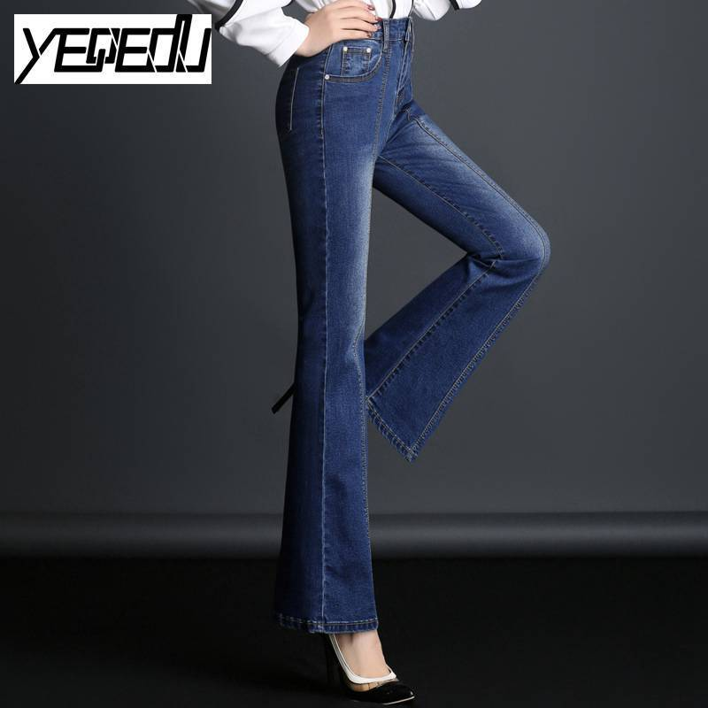 #6814 Spring 2018 New High Waist Flare Jeans Fashion Stretch Skinny Jeans Wide leg Denim Boot Cuts jeans-woman Slim hip 26-32