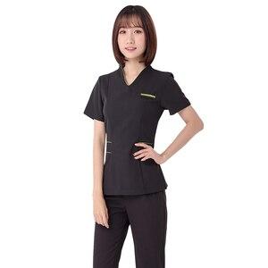 Image 3 - Spa üniforma şevval özçelik çalışma giyim takım teknisyeni sauna banyo ayak banyosu masaj ayak kısa kollu üniforma