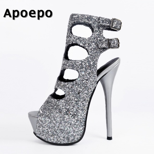 a2546137880 New Bling Bling Silver Glitter Embellished High heel Boots 2018 Sexy peep  Toe platform boots for woman cutouts ankle boots