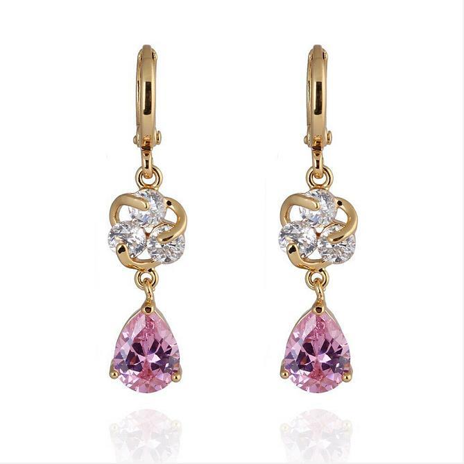 MxGxFam Новые висячие серьги для женщин подарок 18 К желтое золото цвет прозрачный/красный/фиолетовый/розовый с AAA+ кубический зрикон - Окраска металла: Pink