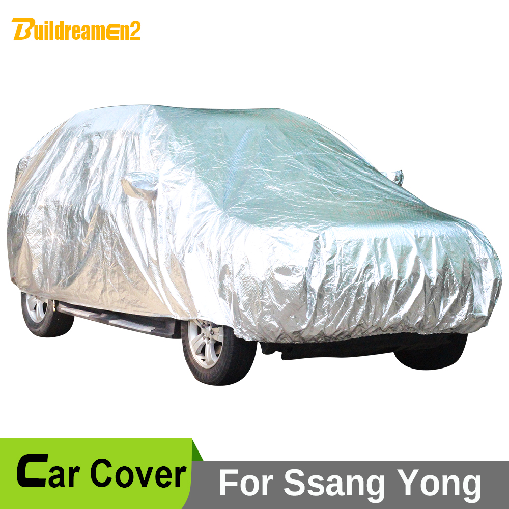 Buildreamen2 Car Cover Waterproof Sun Anti UV Snow Rain Hail Protection Covers For Ssang Yong Korando Actyon Rexton XLV Kyron summer can be folded anti uv sun hat sun protection for children to cover the sun with a large cap on the beach bike travel