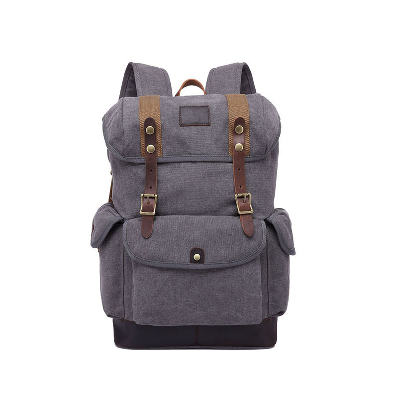 VINTAGE SOLID FLAP COVER CANVAS BIG CAPACITY RUCKSACK RETRO LAPTOP BACKPACK retro style two front pockets laptop compartment vintage canvas solid color backpack