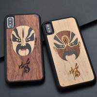 For Iphone 6 s 7 8 plus X facial makeup retro style original fashion wood Phone Case Handmade For Huawei P10 plus wooden cover