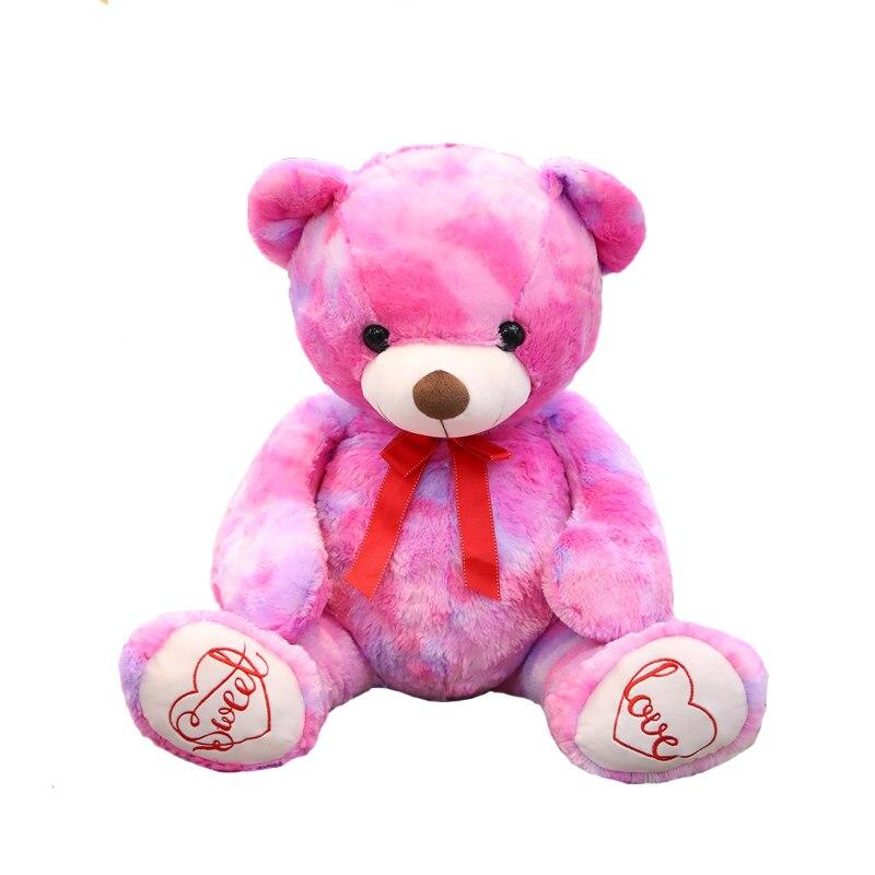 1 pcs 90 cm Mignon grand blanc ours en peluche jouet arc-en-bébé de couchage ours mignon fille lit écolière ours en peluche poupée
