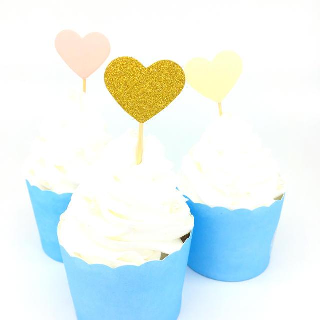Birthday Heart Shape Cake Toppers Set 20 Pcs