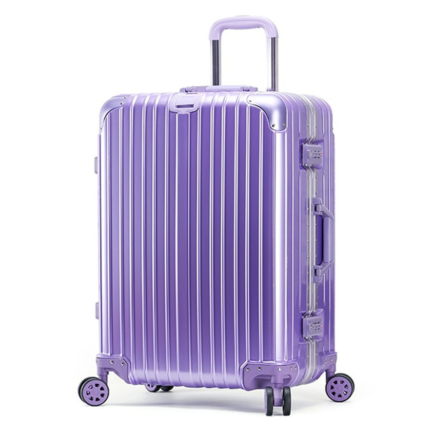 Business Vintage Travel Trolley Luggage Bag Suitcase PC Bright Aluminum Frame With TSA Lock Wheels Hardside Rolling Anti-scratch