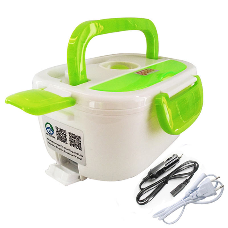 Electric Heated Home Car 12V 220V Plug-in Lunch Boxes Plastic Food Storage Containers Portable Dish Bento Box Kitchen