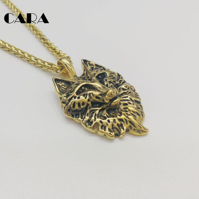 CARA new Plated 316L stainless steel Animal Wolf charm pendant necklace mens  womens wolf animal necklace jewelry CARA0405 52414f264ba4
