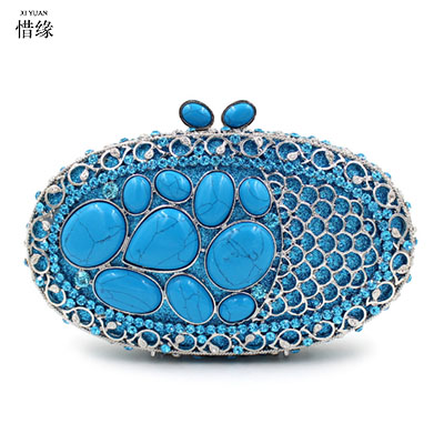 XI YUAN BRAND luxury Chain Women hand Bag Fashion sapphire Evening Bags Classic Day Clutch purse Wedding Party Shoulder Bag