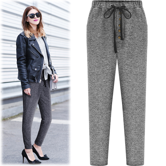 5xl plus size pants women spring autumn 2016 bermuda feminina new European fashion thin gray pants female A1317