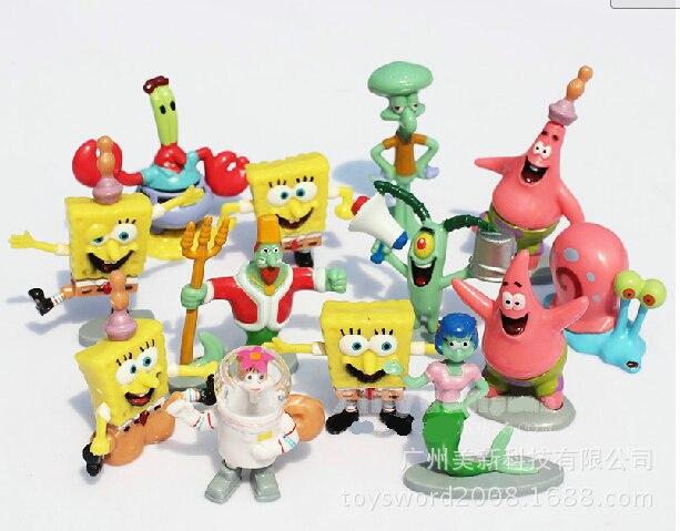 Kids Toys Action Figure: 13pcs/lot Spongebob Toys Sponge Bob Cheap Anime Figure Bob