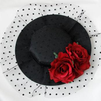 Party Gift Mini Top Hat Rose Flower Lace Fascinator Hair Clip Accessory Goth Hats Vintage 1