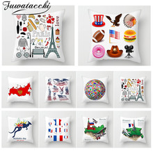 Fuwatacchi World National Flag Print Cushion Cover Geometric Painting Decor Throw Pillow Cover Home Sofa Decorative Pillows Case