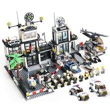 Полицейский участок строительные блоки наборы тюрьма фигуры SWAT вертолетные лего-детали совместимые город Playmobil игрушки для детей мальчиков