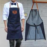 موضة جديدة من نسيج القطن الدنيم الجينز المئزر مآزر المطبخ للمرأة رجل المئزر الشيف تصفيف الشعر نادل العمل موحدة