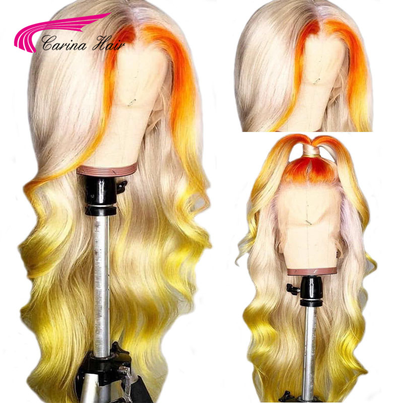 Carina Transparent Lace Colored Human Hair Wigs Brazilian Remy Body Wave Ombre Blonde Lace Front Wig