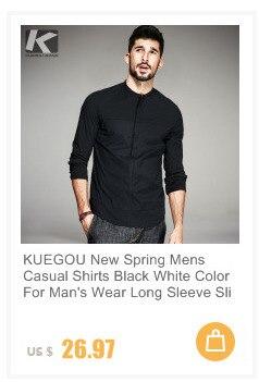 cfb9a16ab KUEGOU جديد الربيع رجل عارضة قمصان 100% القطن المشمش اللون جيب العلامة  التجارية الملابس الرجل طويلة الأكمام يتأهل الملابس 9319